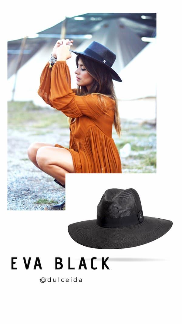 Sombrero Panamá Ala Ancha Eva Negro