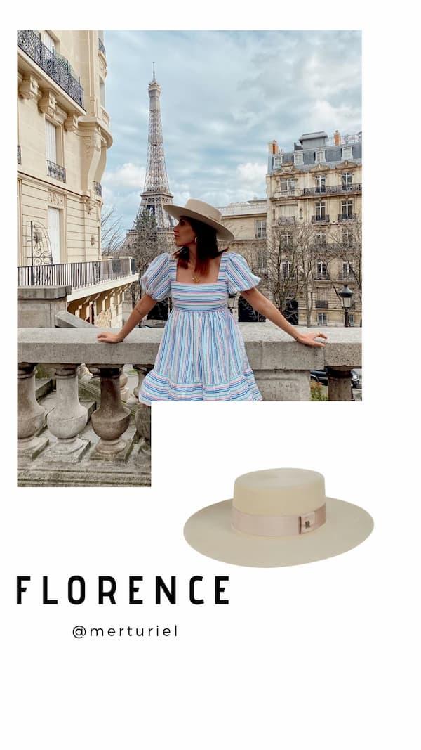 Sombrero Canotier Crema de Ala Ancha Florence