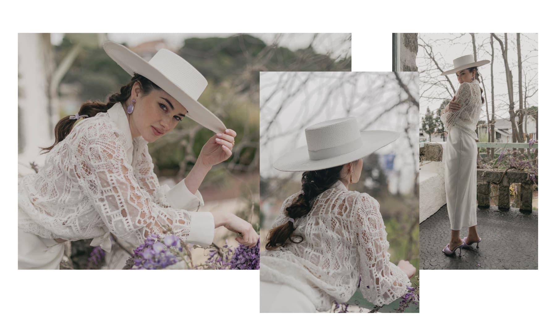 Sombrero de Novia Canotier Ala Ancha color Blanco - Atena