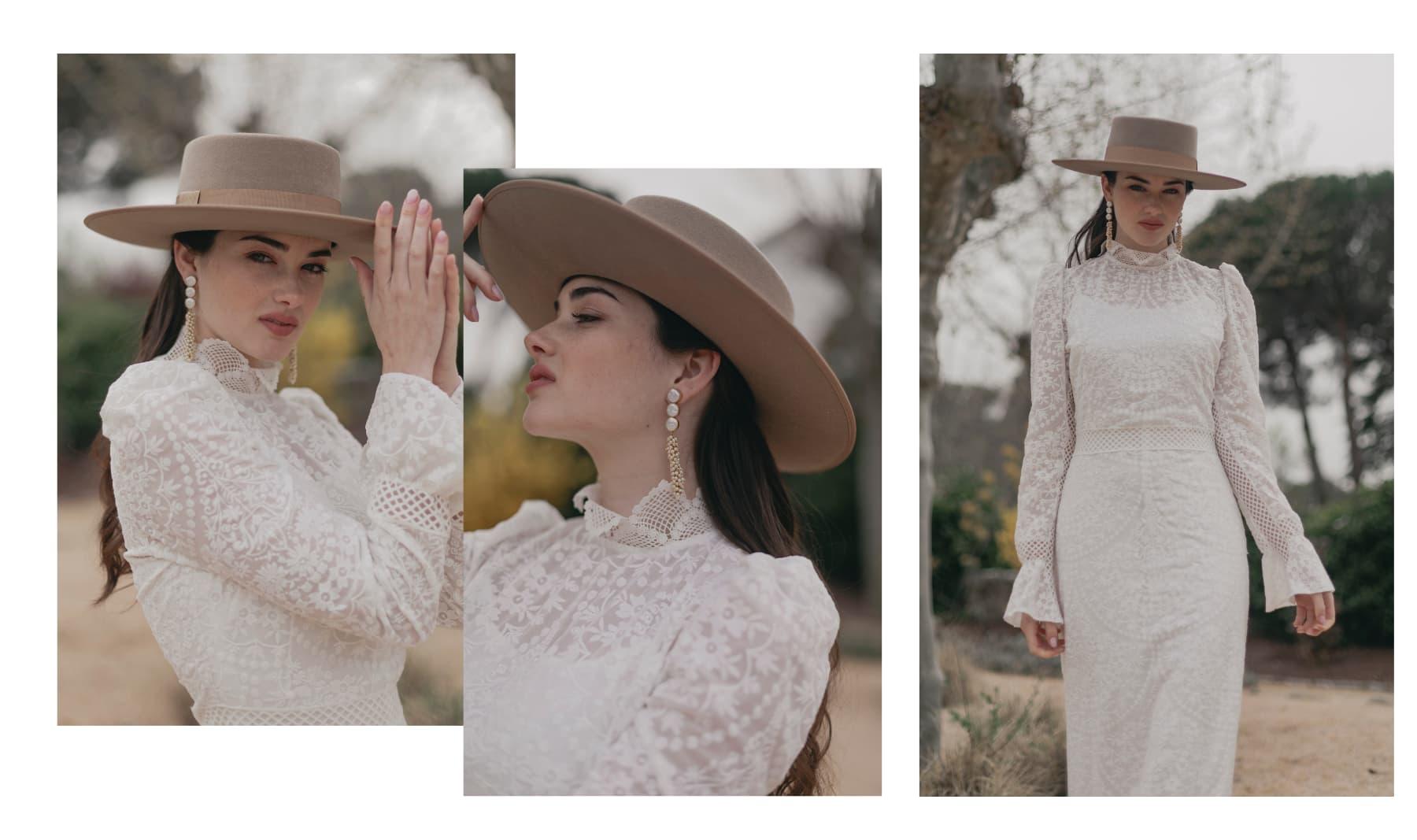 Sombrero de Novia Canotier Ala Ancha Verona Taupe