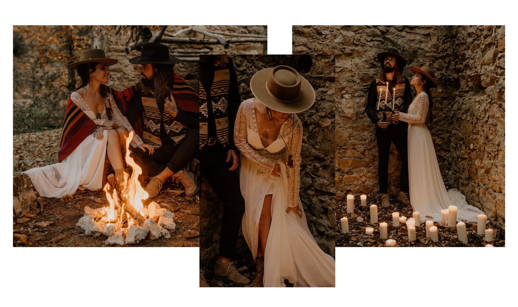 Wool Felt Bridal Hat - Cowboy Style