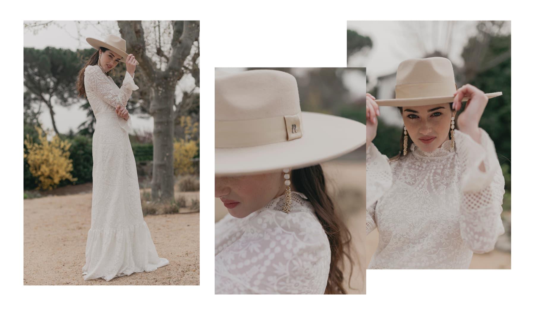Sombrero de Novia Ala Ancha y Rígida Colorado color Beige