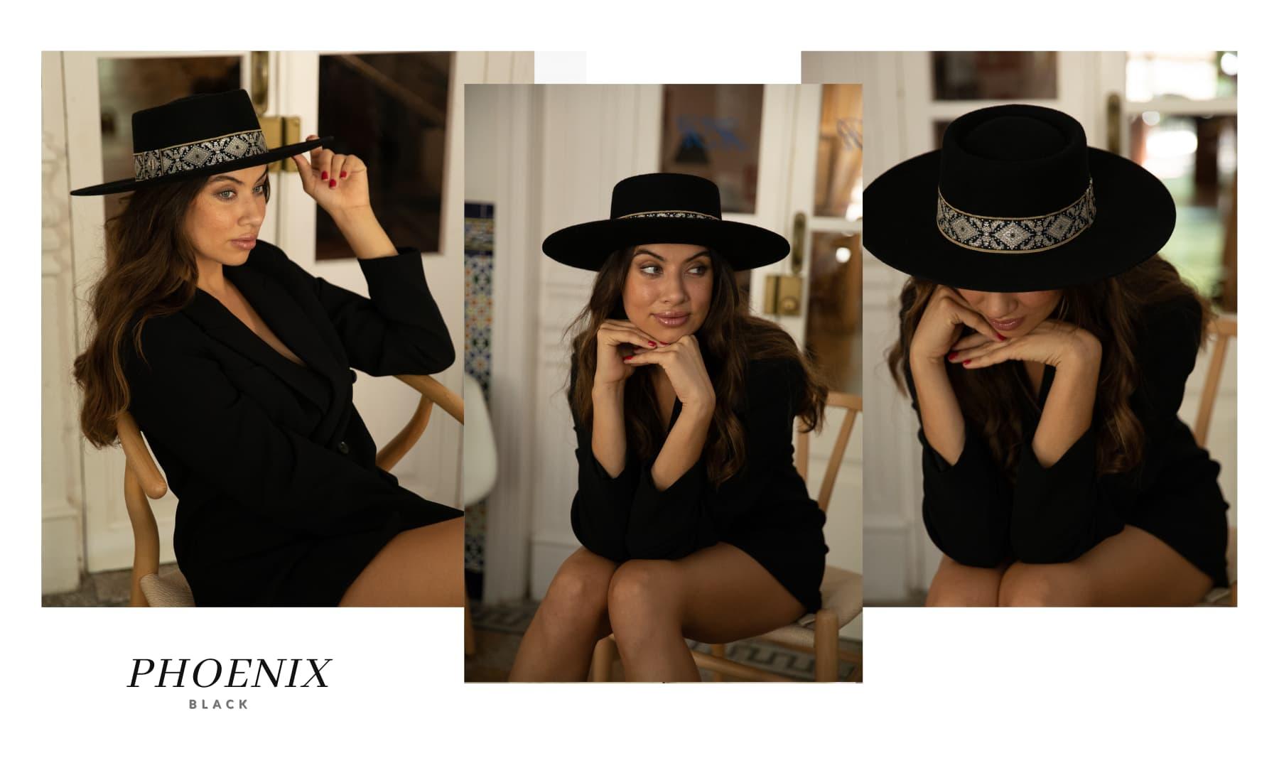 Sombrero de Fieltro Mujer Phoenix Color Negro