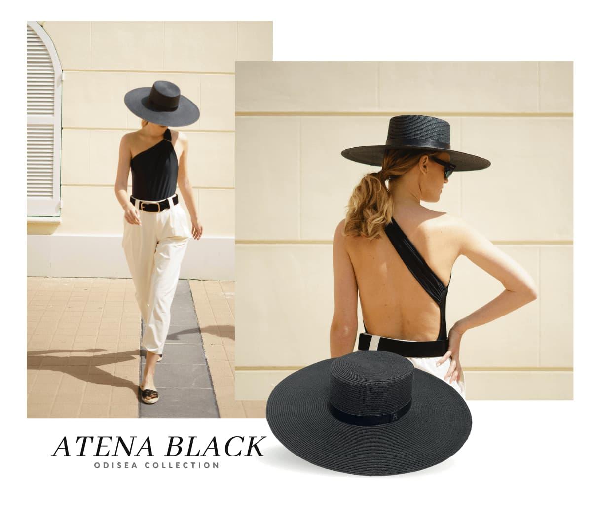 Sombrero de Fibra Vegetal Ala Ancha Atena color Negro
